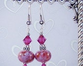 Kiss Me You Fool - Fuchsia Swarovski Crystals and Lampwork Earrings