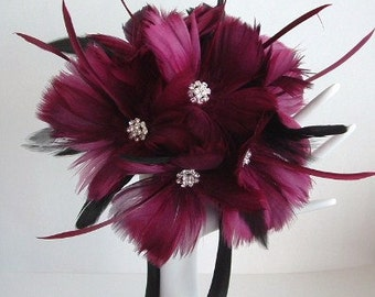Feather Flower Brides Maids Bouquet