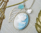 Cameo Necklace Sky Blue and White Rose