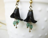 Black Lily Flower Earrings Antique Gold and Mint