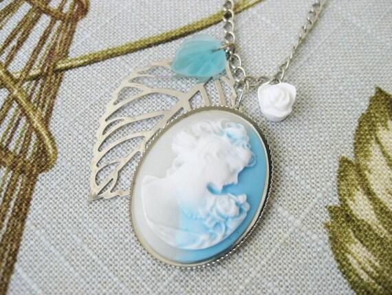 Cameo Necklace Sky Blue and White Rose