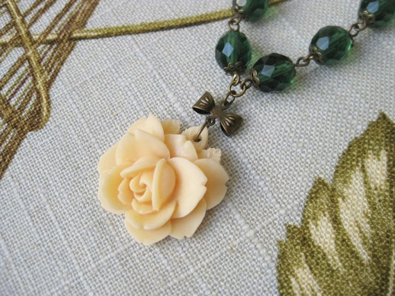 RESERVED Yellow Rose Necklace Emerald Green Beaded