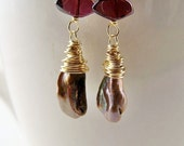 Garnet Earrings . January Birthstone . Bronze Freshwater Keshi Pearl Drop Earrings . 14kt Gold Fill Jewelry . Elegant Wedding Jewelry