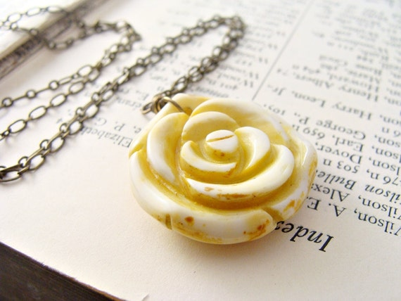 Pale Yellow Jade Carved Rose Pendant Necklace in Antiqued Brass Spring Summer 2012 Fashion