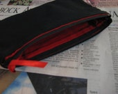 Red and Black Canvas Pouch