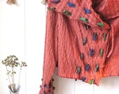 Autumn Orange Rustic Knit Jacket with hand dyed fabric accents