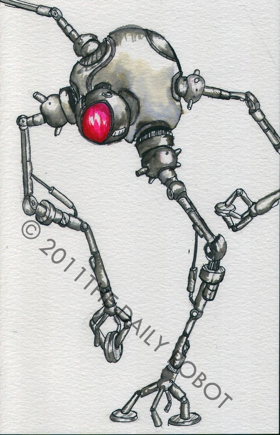 Spindly Robot Painting - Original