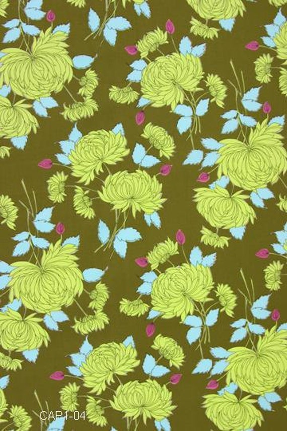 Amy Butler Chrysanthemum in Olive from Belle line Half Yard