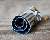 Personalized crayon roll, navy blue stripes design