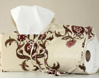 Damask floral bath accessory set
