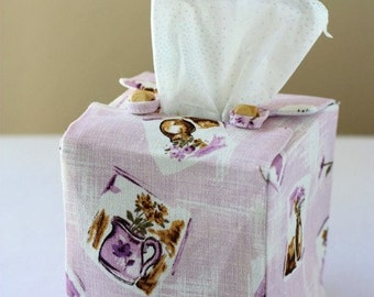 Cottage charm square size tissue box cover