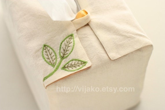Hand embroidered tissue box cover, leaf design