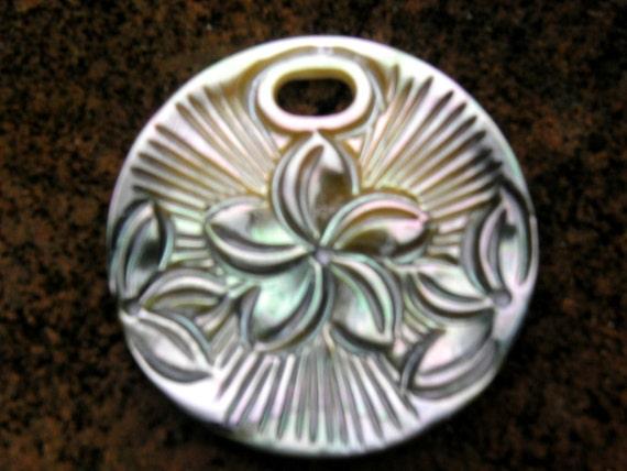 Black Tahitian Plumeria Disc Pendant