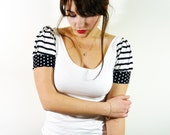 Stripes & Polkadots top// White blouse with striped sleeves