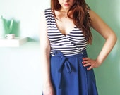 French Cool Wrap Dress// Navy Blue and White Striped top part