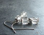 Cube Glass Earrings Clear Glass Silver Dangles - Cubism Free Shipping Etsy