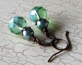 Crystal Earrings Faceted Green Glass Pearls Copper Dangles - Seaside Free Shipping Etsy
