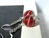 Red Glass Earrings Handblown Round Striped Candycane Red Silver - Sweets Free Shipping Etsy