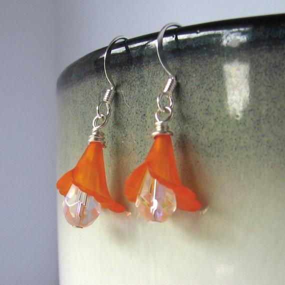 Orange Flower Earrings Lily Flower Glass Teardrop Dangles - Dew Drops Free Shipping Etsy