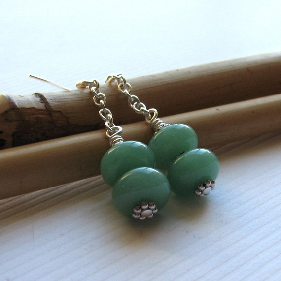 Green Aventurine Earrings Silver Rondelle Stacked Dangles - Ice Cream Free Shipping Etsy