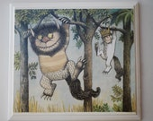 Where the Wild Things are Nursery Wall Hanging Max and Moishe hanging in the trees