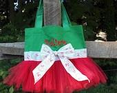 Petite Christmas Holiday Custom Boutique monogram name Tutu Dance Ballet Tote Bag