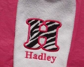 Custom Boutique Monogrammed Personalized Zebra PrintTerry Cloth Baby Bib