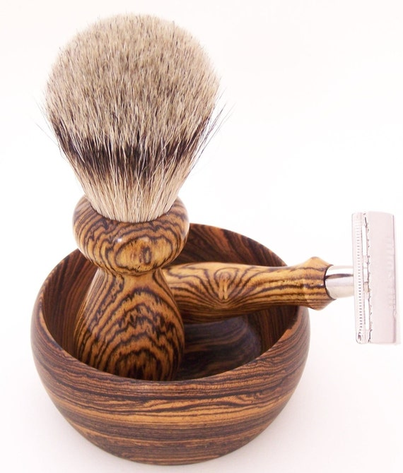 Bocote Wood Silvertip Badger Shaving Brush, DE Safety Razor and Shaving Bowl Gift Set (handmade)