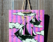 Eclectic Attic \/ Purple Caravels - 8 x 8 Original Artbadge - archival inks on wood, with jute rope ready to hang