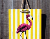 Harbour Yellow Stripe Flamingo- 8 x 8 Original Artbadge - archival inks on wood, with jute rope ready to hang