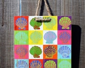 Eclectic Attic \/ James' Sunday Quilt - 8 x 8 Original Artbadge - archival inks on wood, with jute rope ready to hang
