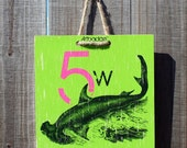 Harbour Green Hammerhead Whale - 8 x 8 Original Artbadge - archival inks on wood, with jute rope ready to hang