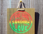 Kingston \/ Pour Down Sunshine - 8 x 8 Original Artbadge - archival inks on wood, with jute rope ready to hang