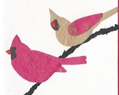 Two Cardinals  Handmade Paper Card