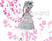 Fashion Girl Illustration............Pink, Black and White