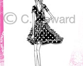 Fashion Girl Illustration.........Pink Black and White