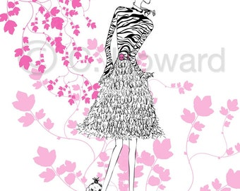 Fashion Girl Illustration............Pink, Black and White