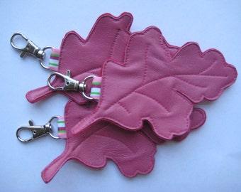 Leather Oak Leaf Bag Charm
