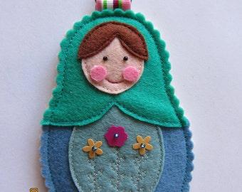 Blue Felt Nesting Doll Matryoshka Bag Charm