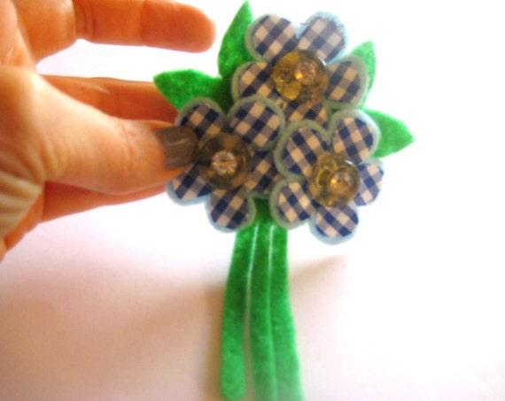 Felt Flower Cluster, Blue Gingham - Rhinestone Buttons