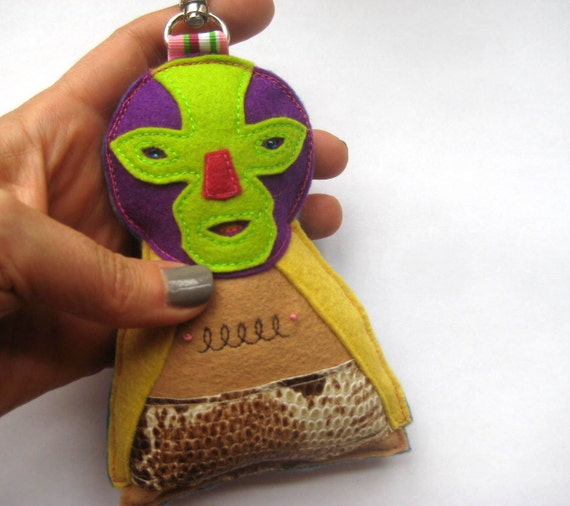 Felt Mexican Wrestler Bag Charm