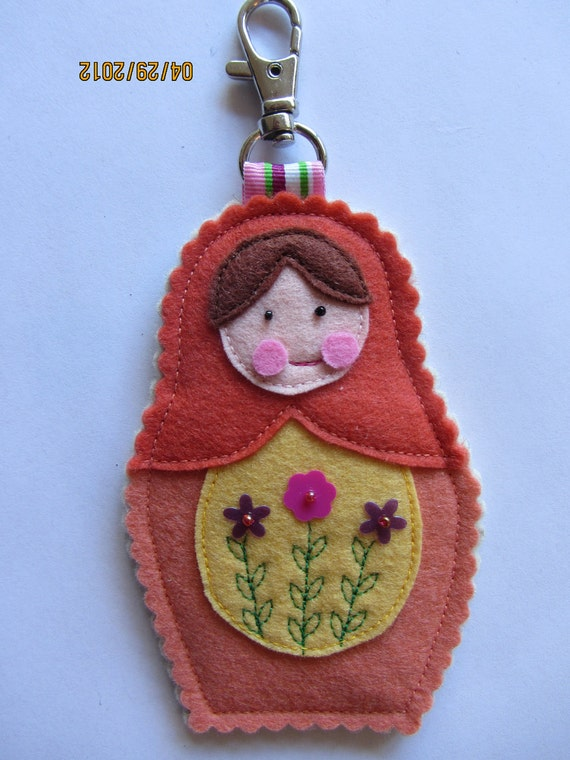 Peach Felt Nesting Doll Matryoshka Bag Charm