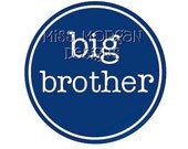 Personalized Big Brother sibling iron on decal vinyl for shirt