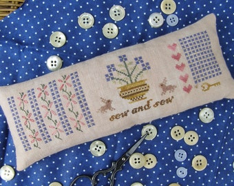 Primitive Cross Stitch Pattern M Designs Miss Mary Mac's Sew and Sew Pincushion