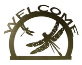 Welcome Dragonfly Metal Wall Art