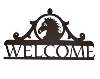 Metal Welcome Sign Horse  (B9)