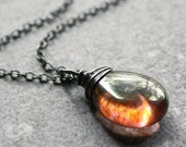 Winter Sunset Necklace Sterling Silver Rose Pink Copper Czech Glass Wire Wrapped Oxidized