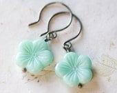 Mint Flower Earrings Sterling Silver Oxidized Czech Glass Spring Blossom Aqua Spearmint - FirebirdJewellery