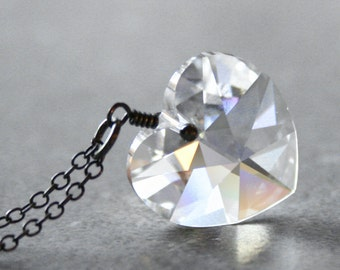 Heart of Ice Swarovski Crystal Necklace Sterling Silver Oxidized Frozen Winter Necklace