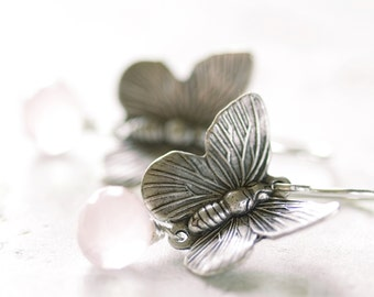 Pale Pink Rose Quartz Sterling Silver Butterfly Earrings Pastel Moth Bug Insect Jewelry